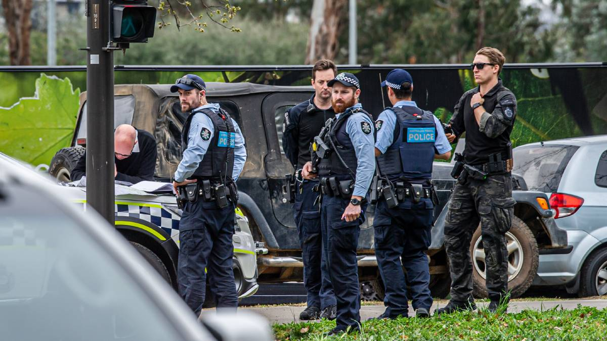 Police at the scene near the ASIO building on Wednesday. Picture: Karleen Minney
