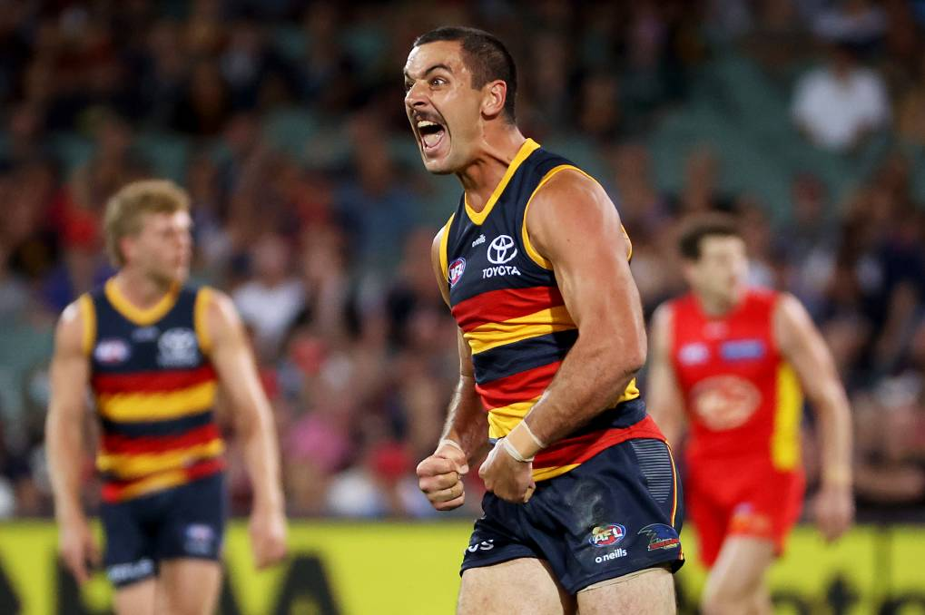 LEAD: Adelaide's Taylor Walker leads the Coleman Medal after another six-goal bag against Gold Coast. Photo: James Elsby/AFL Photos via Getty Images